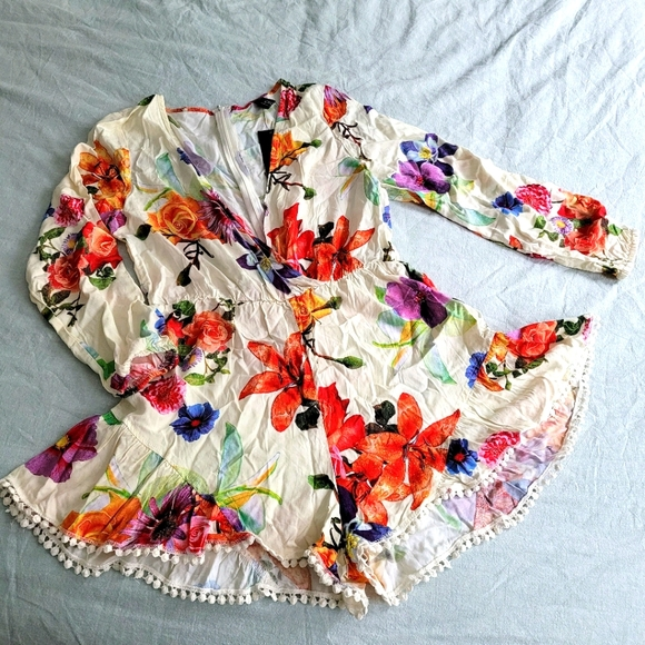 Floral Long-sleeved Romper NWT